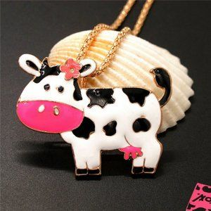 Betsey Johnson Necklace Cow Pendant Gold Chain NEW